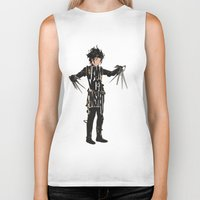 johnny depp Biker Tanks featuring Edward Scissorhands - Johnny Depp by Ayse Deniz