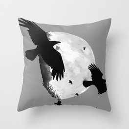 A Murder Of Crows Flying Across The Moon Throw Pillow