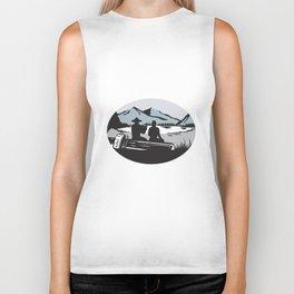 Two Trampers Sitting on Log Lake Mountain Oval Woodcut Biker Tank