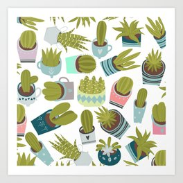 Abstract pink coral green floral cactus plants Art Print