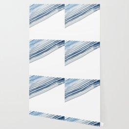 Blue & Grey stripe Wallpaper