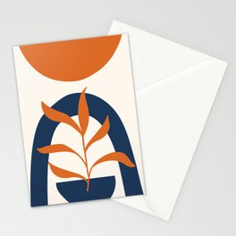 Abstract Shapes 58 in Burnt Orange and Navy Blue (Sun, Rainbow and Plant Abstraction) Stationery Cards