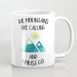 Mountains are calling green watercolor Coffee Mug