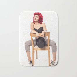 """""""Red Hair Don't Care"""" - The Playful Pinup - Red Haired Bowling Girl Pin-up by Maxwell H. Johnson Bath Mat"""