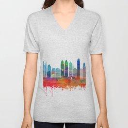 Philadelphia Skyline Watercolor by zouzounioart Unisex V-Neck