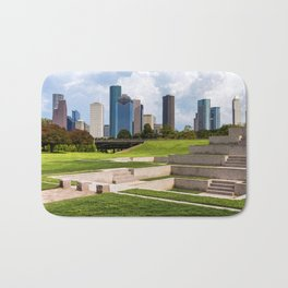 Downtown Houston Skyline from Police Officer's Memorial Bath Mat