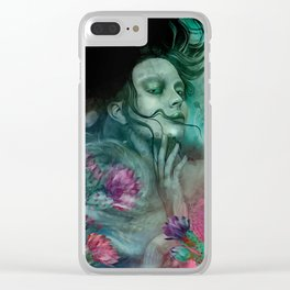 """Sirena between pastel cactus flowers"" Clear iPhone Case"
