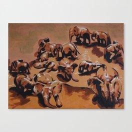 Elephant party (left) Canvas Print