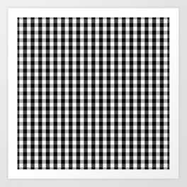 Classic Black & White Gingham Check Pattern Art Print