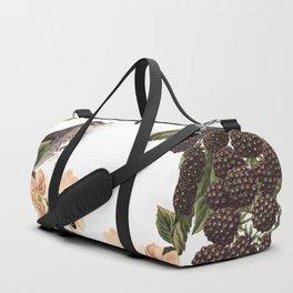 Blackberry Spring Garden - Birds and Bees Cream Flowers Duffle Bag