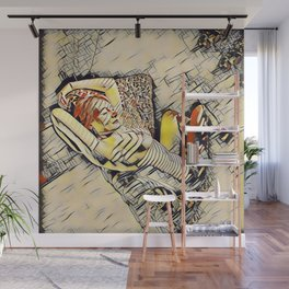 4248s-JG Beautiful Jessica Striped Nude Erotica in the Style of Kandinsky Wall Mural