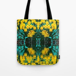 YELLOW DAFFODILS TURQUOISE PATTERNED GARDEN Tote Bag