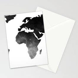 World Map Space Stars Black and White Stationery Cards
