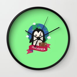 Penguin Globetrotter from Malaysia T-Shirt Wall Clock