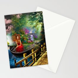 Looking on the other side of the lake surrealism digital art Stationery Cards