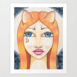 Lunar cat Art Print