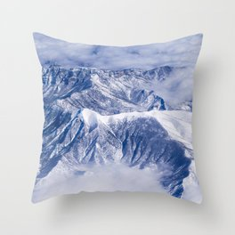 AERIAL VIEW OF SNOW COVERED MOUNTAINS Throw Pillow