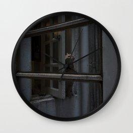 Cat at window Wall Clock
