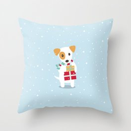 Cute Christmas dog holding a stack of gifts Throw Pillow