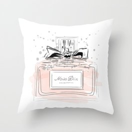 Perfume bottle with bow Throw Pillow