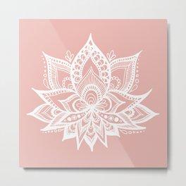 White Lotus Flower on Rose Gold Metal Print