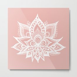 White Lotus Flower on Rose Gold Metal Print