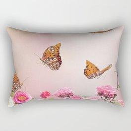 Gulf Fritillary butterflies feed in a rose garden Rectangular Pillow