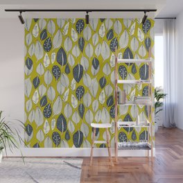 leaves and feathers chartreuse Wall Mural