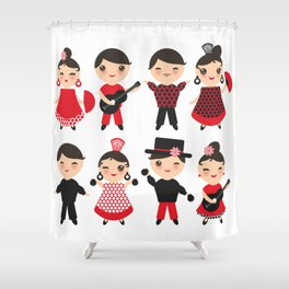 Spanish flamenco dancer. Kawaii cute face with pink cheeks and winking eyes. Gipsy Shower Curtain