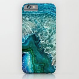 Aqua turquoise agate mineral gem stone- Beautiful backdrop iPhone Case