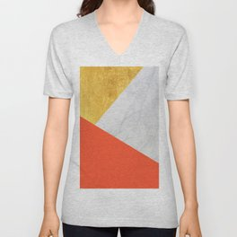 Carrara Marble with Gold and Pantone Flame Color Unisex V-Neck