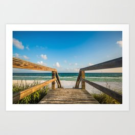 Head to the Beach - Boardwalk Leads to Summer Fun in Florida Art Print