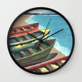 Boats In A Row Wall Clock
