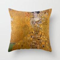 gustav klimt Throw Pillows featuring Adele Bloch-Bauer I by Gustav Klimt by Palazzo Art Gallery