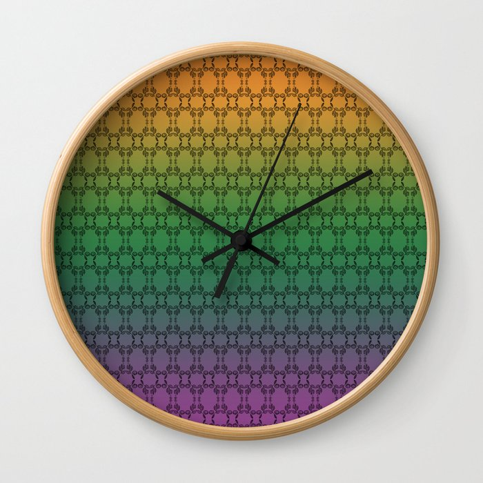 Hand drawn Seed Pods on Multicolor background Wall Clock