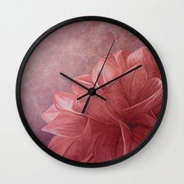 Drawing flower on old vintage color grunge paper background Wall Clock