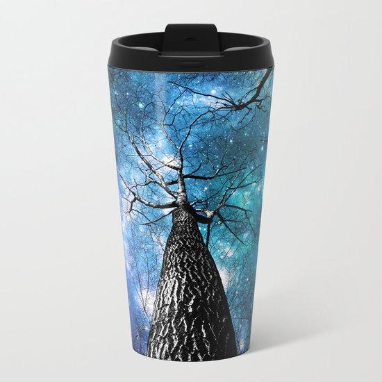 Wintry Trees Galaxy Skies Teal Blue Violet Metal Travel Mug