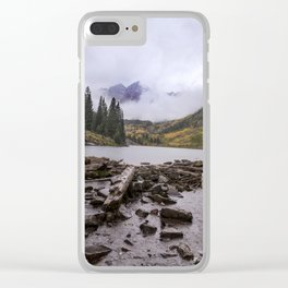 Maroon Bells in the Rain Clear iPhone Case