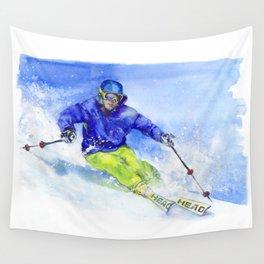 Watercolor skier, skiing illustration Wall Tapestry