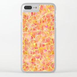 Orange Giraffe Print Clear iPhone Case