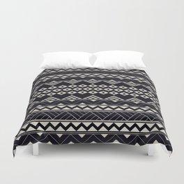 monochromatic Tribal geometric zigzag triangular pattern Duvet Cover