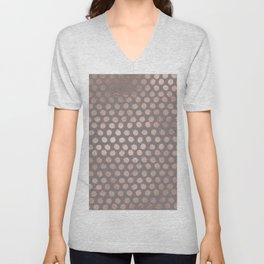 Simple Hand Painted Rosegold polkadots on gray background Unisex V-Neck