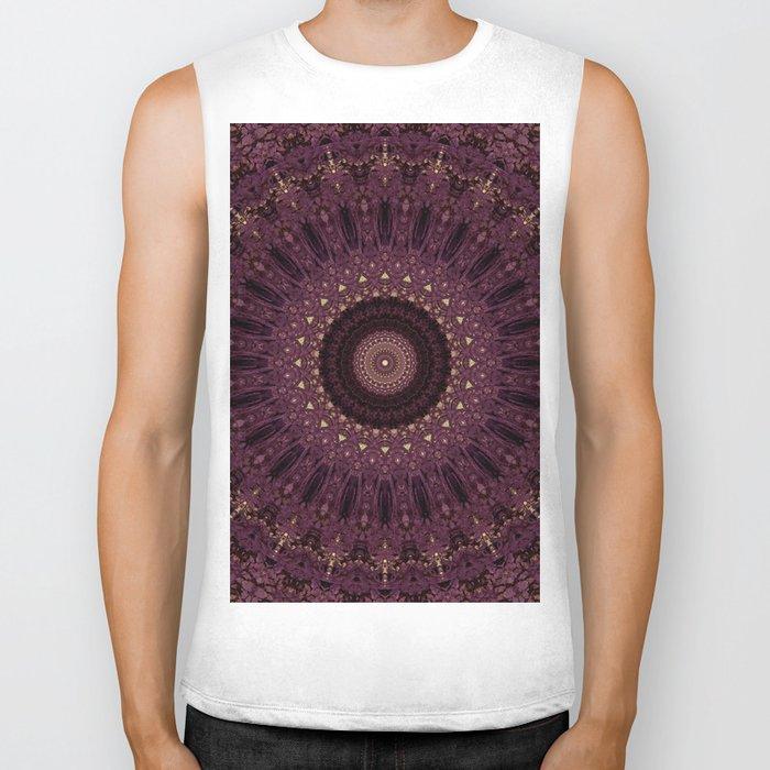 Mandala in dark purple and golden colors Biker Tank