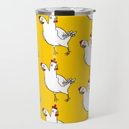 Two Headed Chicken Repeat Pattern Travel Mug