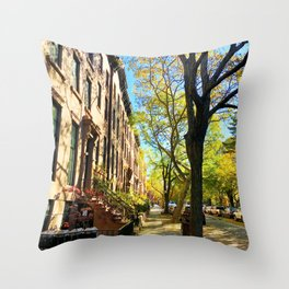 Cobble Hill Brooklyn New York in the Fall, Brownstones Throw Pillow