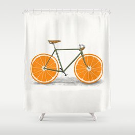 Zest (Orange Wheels) Shower Curtain