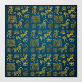 Aztec ancient animal gold symbols on teal Canvas Print