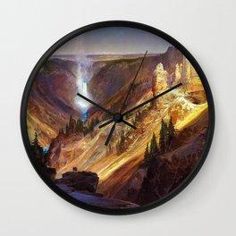 The Grand Canyon of the Yellowstone by Thomas Moran Wall Clock