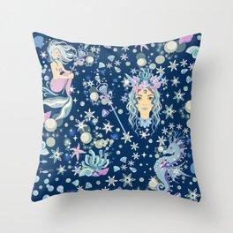 Elegant Ice Queen Mermaid Throw Pillow