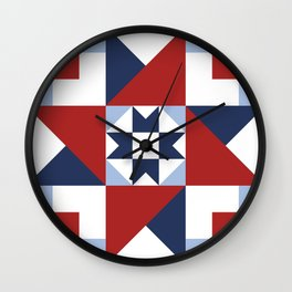Red White and Blue Quilt Pattern Wall Clock